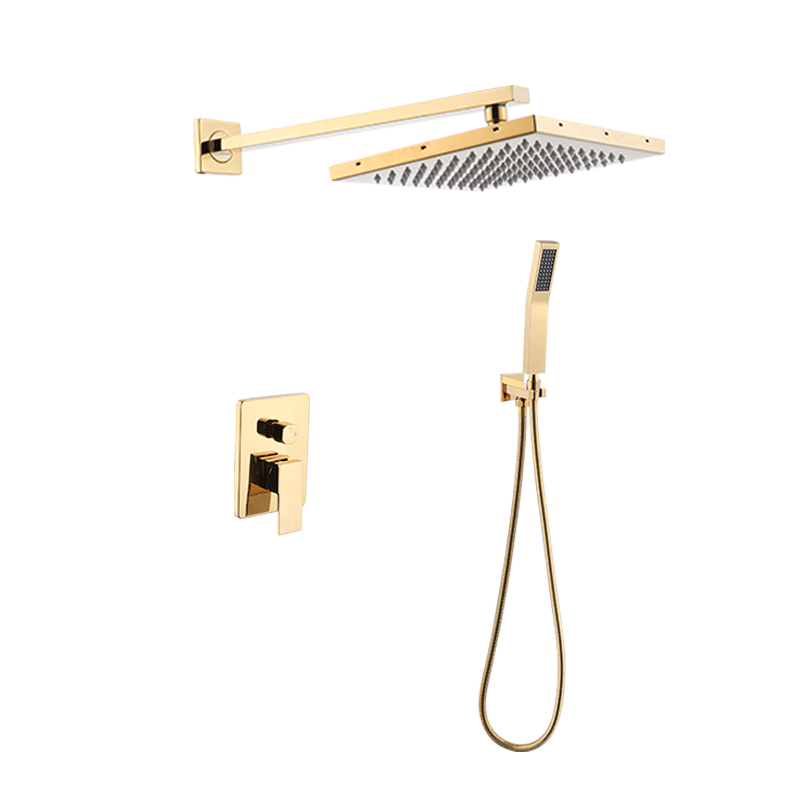 FLG Golden Wall mounted Bathroom Rain Mixer Shower Set