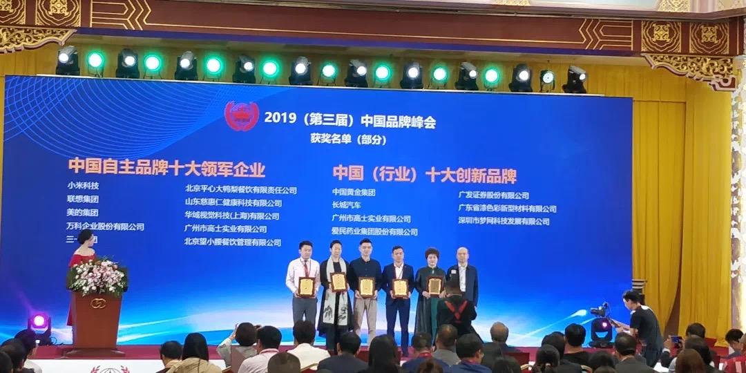 2019(第三届)中国品牌峰会中荣获中国自主品牌十大领军企业