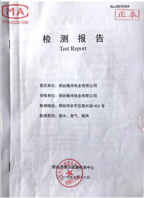 煙臺隆達紙業有限公司 2019 年三季度污染物排放執行報告
