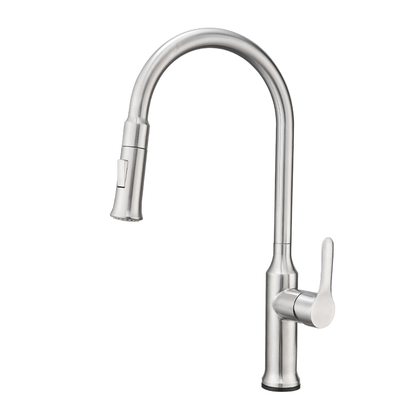 FLG Brushed Nickel Stainless Steel One-Handle High Arc Pullout Touch on Kitchen Faucet
