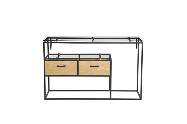 Modern Glass Top Wood drawer Metal Steel Console Table