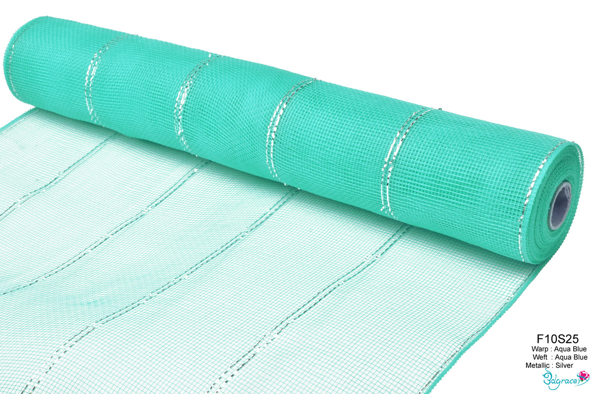 F10 Group Metallic Mesh F10S25 Silver Metallic In Aqua Blue PP