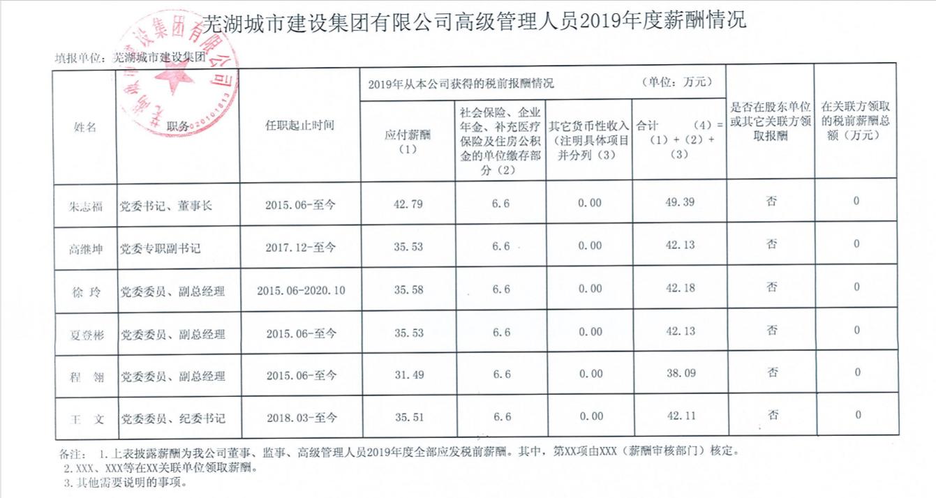 蕪湖城市建設集團有限公司高級管理人員2019年度薪酬情況