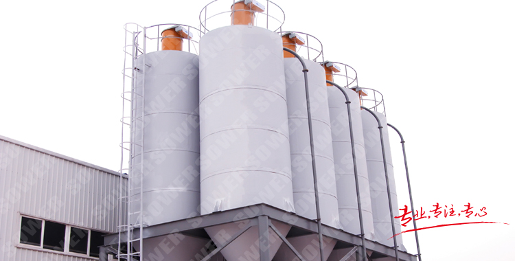 Customized powder conveying system for coating, ink and dry mortar production