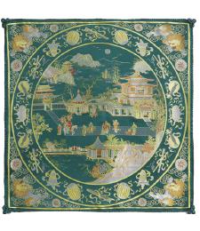 20-08雙面五彩織織錦景物46×46CM(綠)