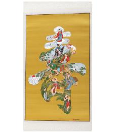 14-3-02八仙鹤寿黄(五彩織錦)