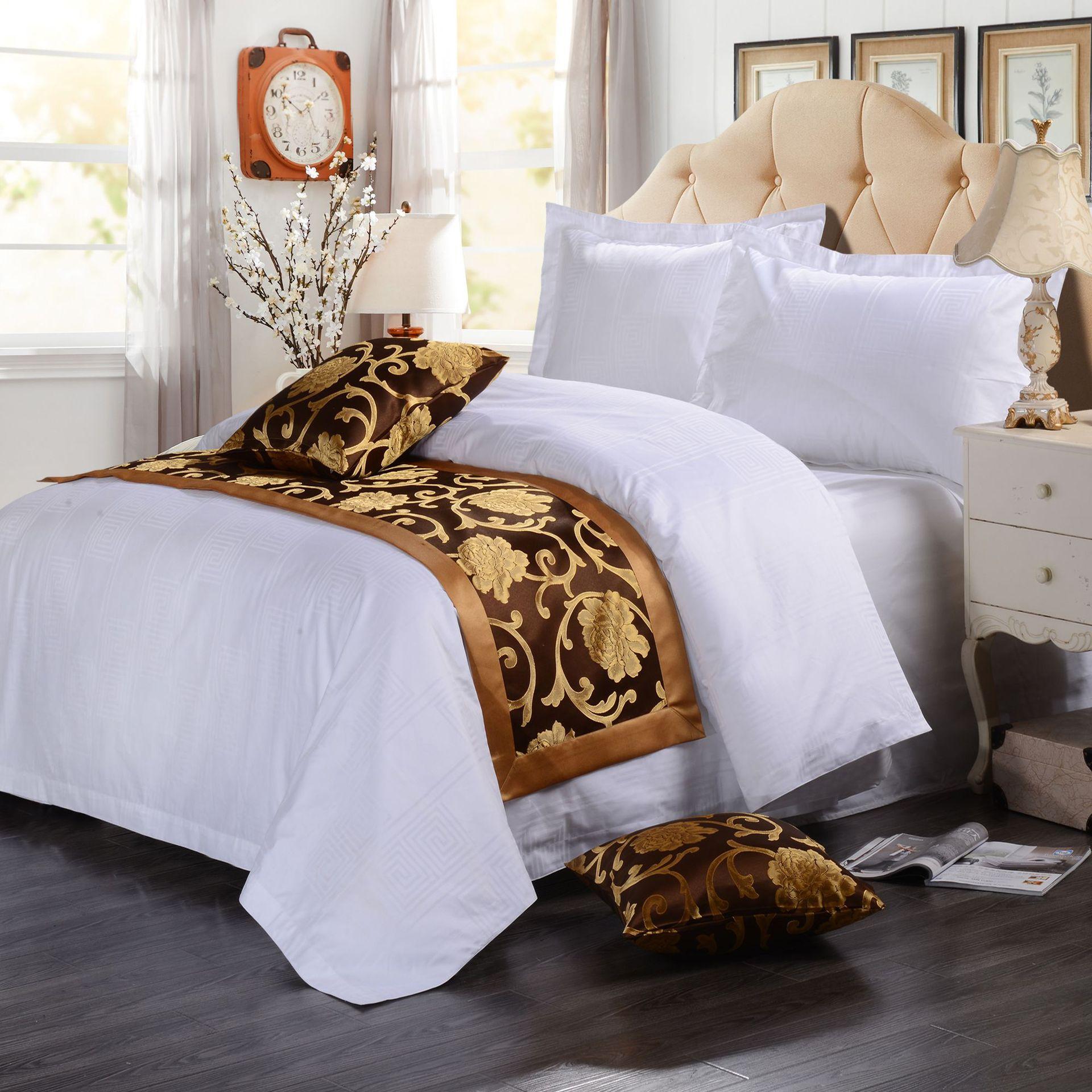 君芝友酒店用品賓館酒店床上用品四件套全棉純白色貢緞4件套床單被套床品JZY-0006