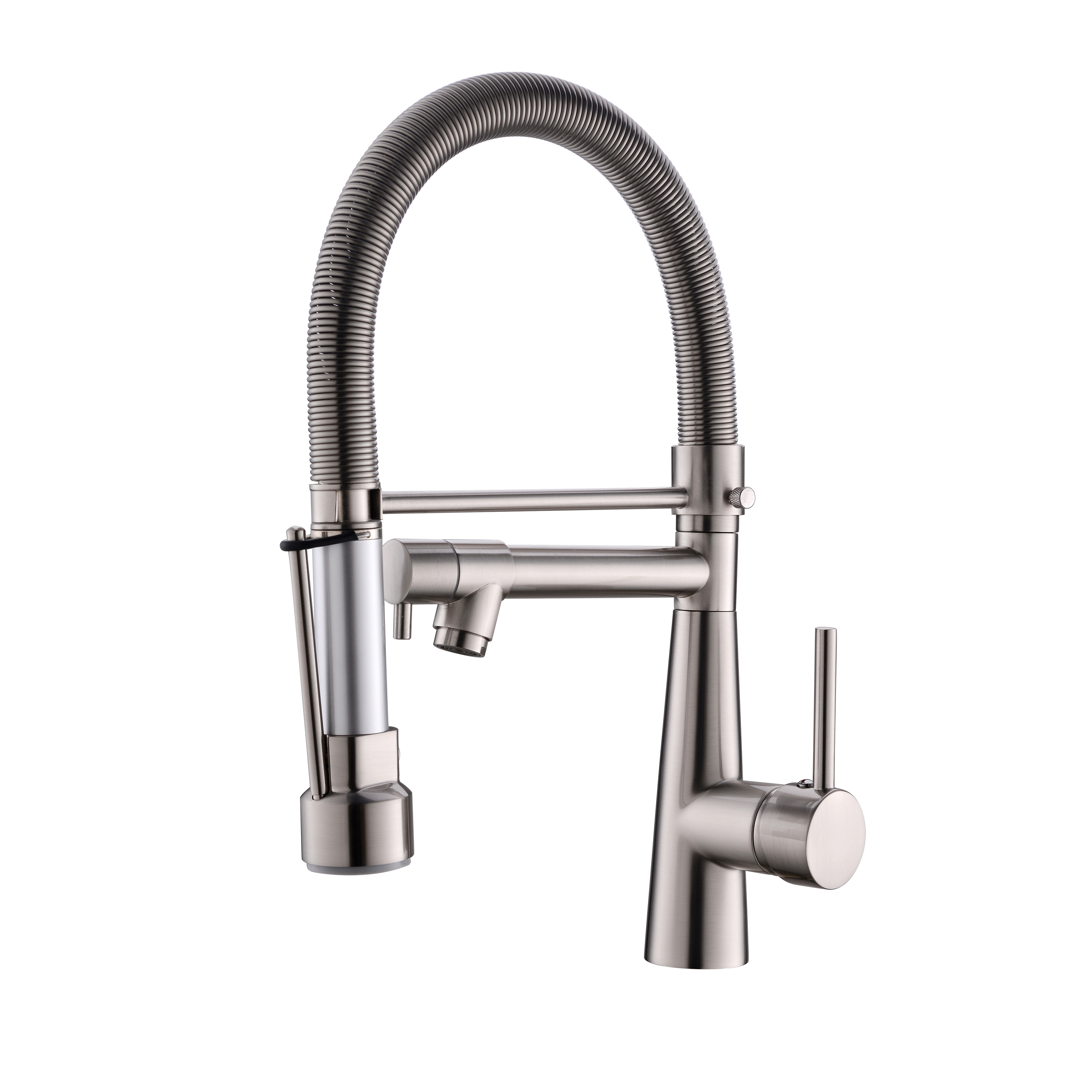 Pull Down Kitchen Faucet With Lock Sprayer,Single Handle Spring Stainless Steel Kitchen Sink Faucet Brushed Nickel