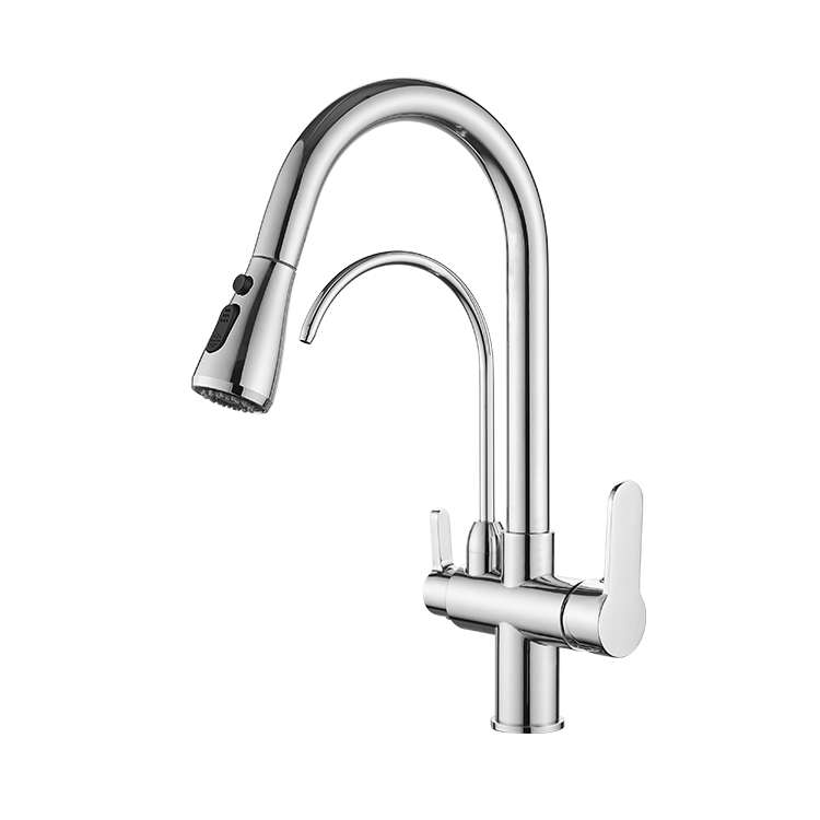 FLG pull out chrome brass kitchen faucets with purified faucet