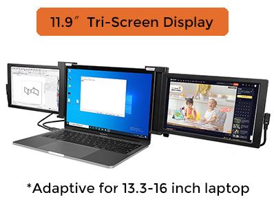 11.9 inch tri-screen portable monitor Laptop external 1080p display FHD IPS panel