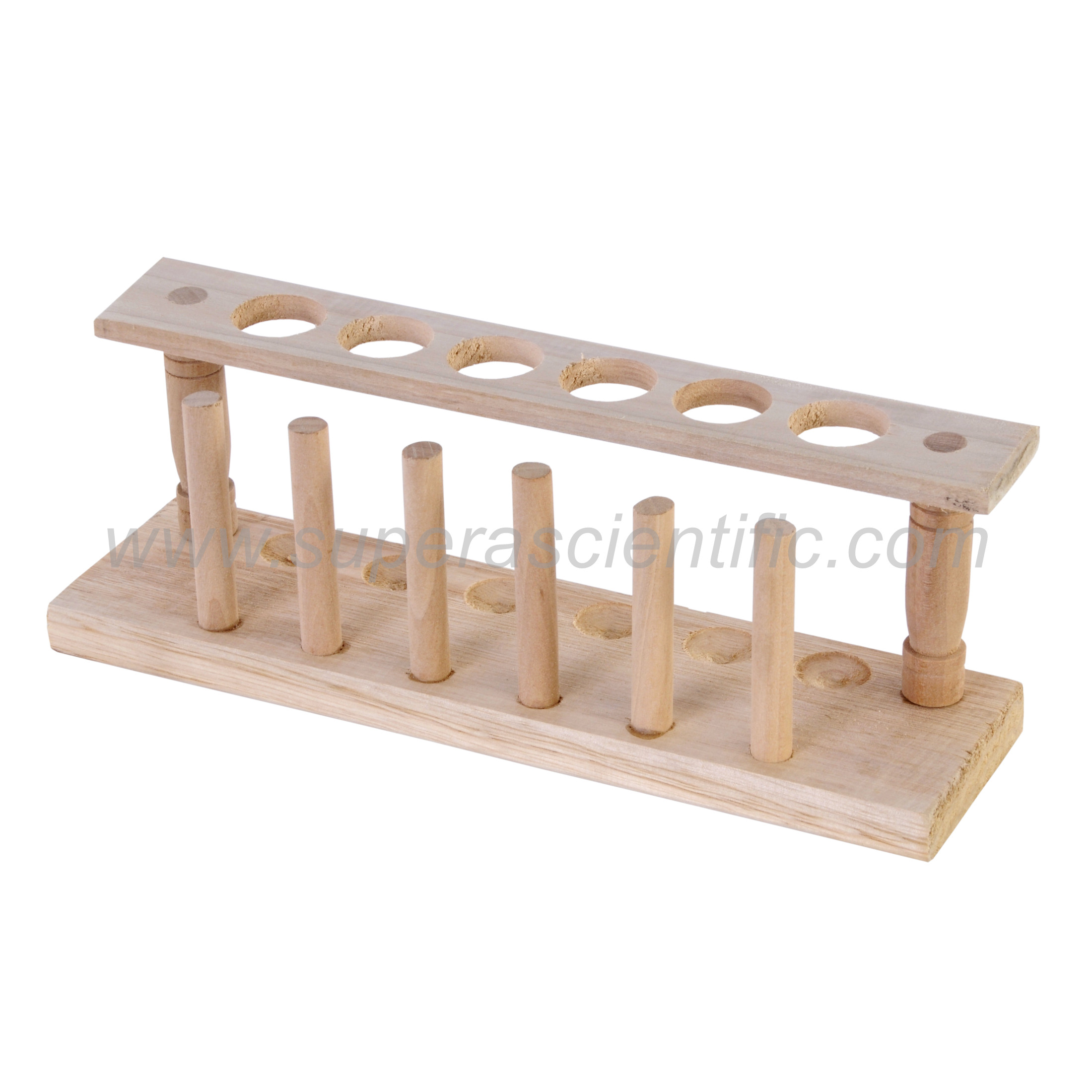 1406 Wooden Test Tube Rack, 6 Tubes, 1 Row 24mmD,