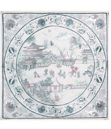 20-05雙面五彩織織錦景物46×46CM(白)