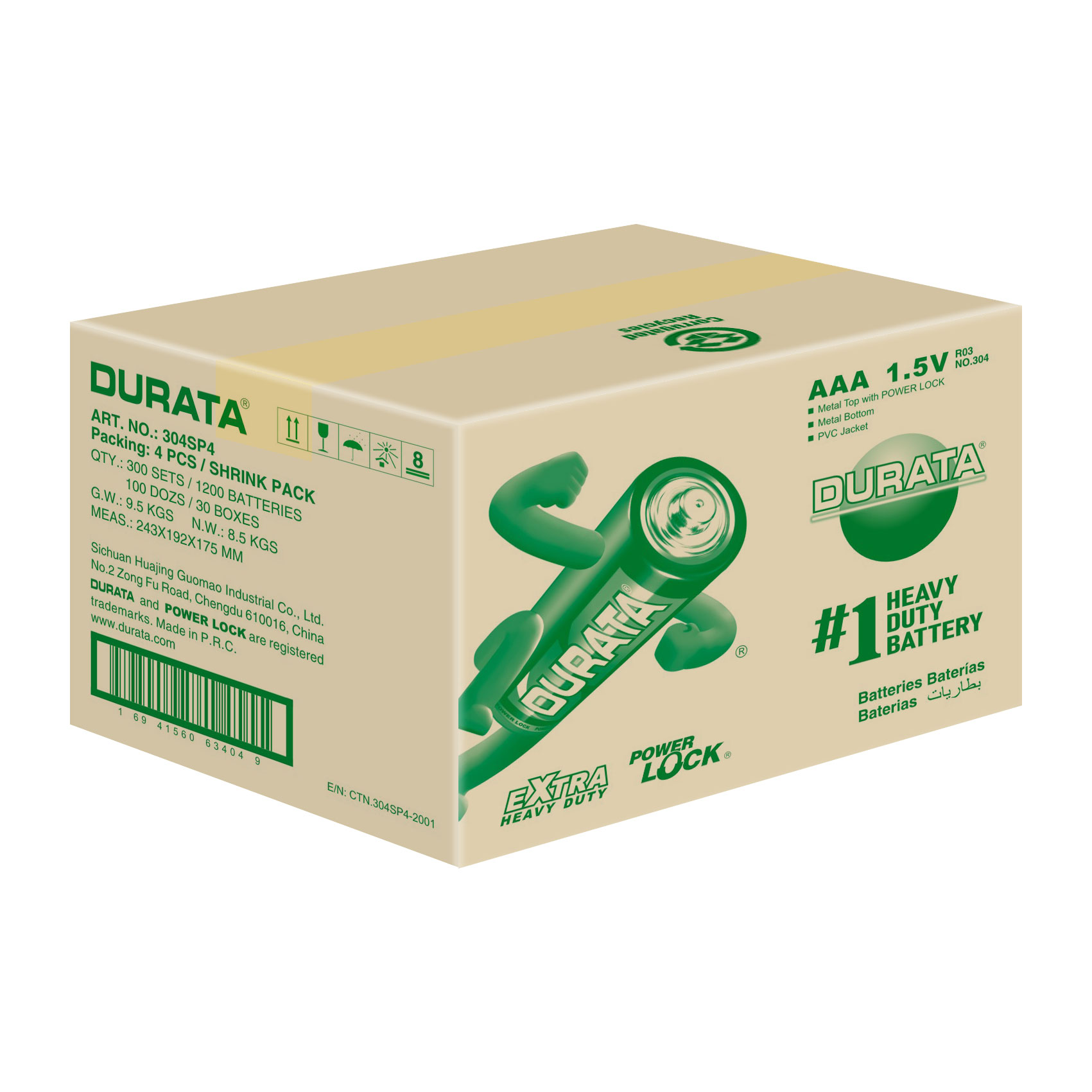 DURATA Size AAA - Shrink Pack 4 Batteries - CTN