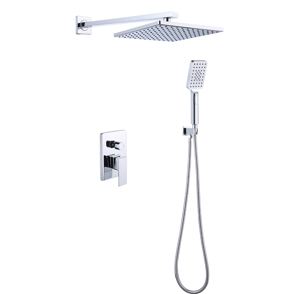 FLG Chrome Wall mounted  Bathroom  Rain Mixer Shower Set