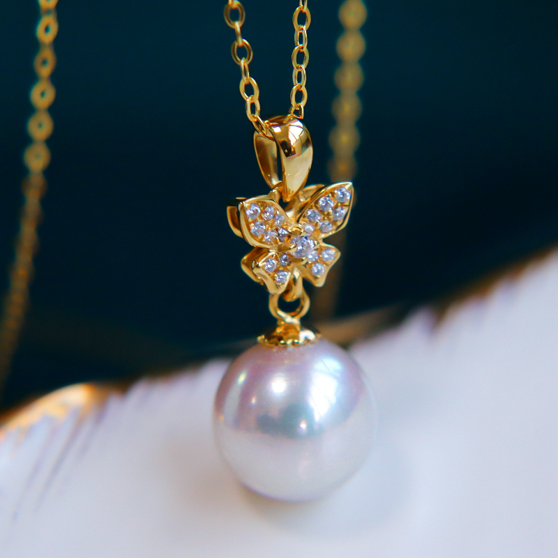 恒興珠寶 天然海水蝴蝶款18K金一顆日本akoya珍珠項鏈吊墜單顆女
