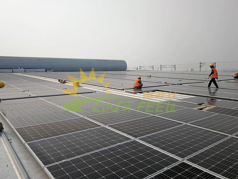 T型彩鋼瓦掛鉤平鋪太陽能支架 廣東佛山 14MW