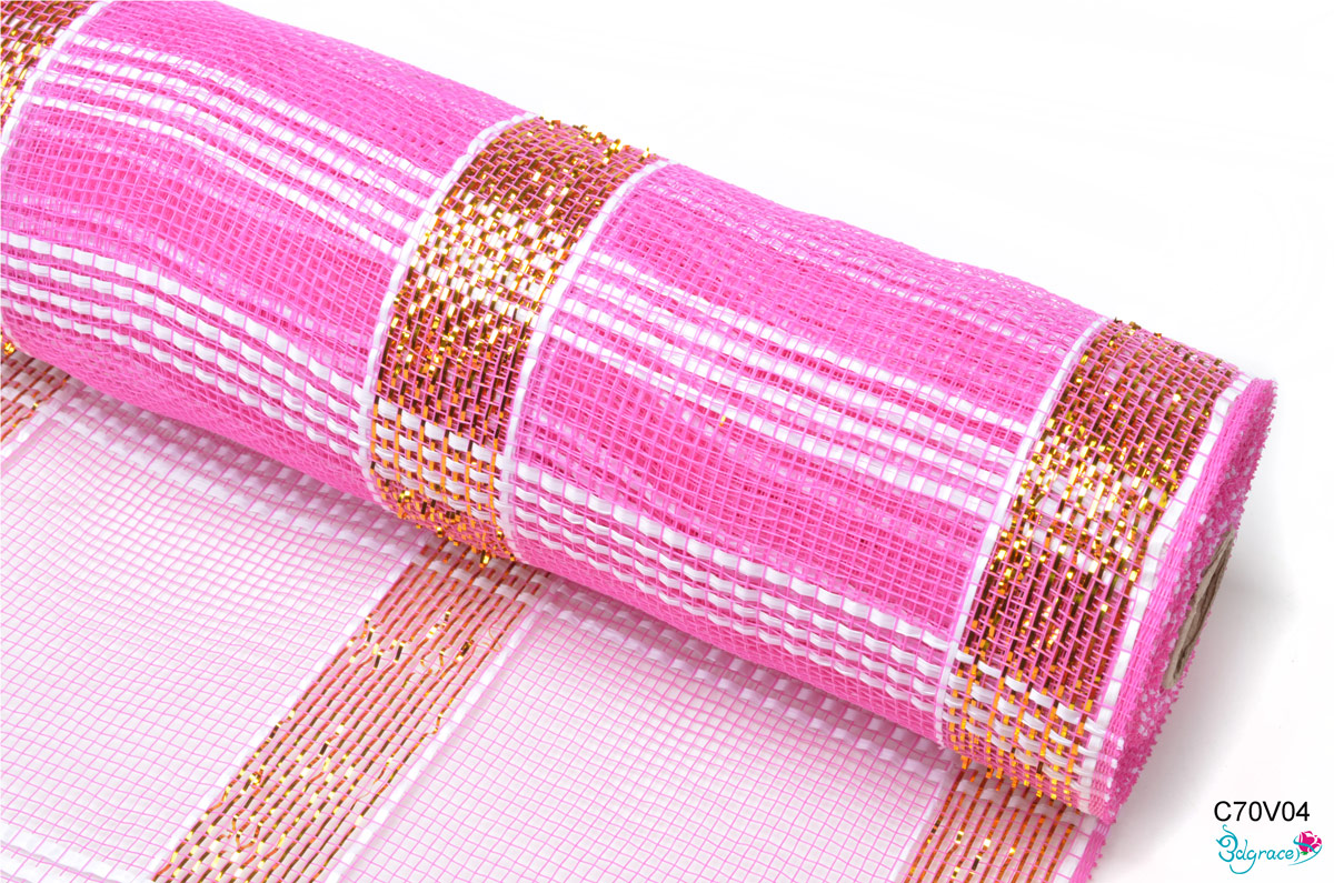 C70 Check Metallic Mesh C70V04 Gold Metallic And Vegetable Line In Dk.Pink PP