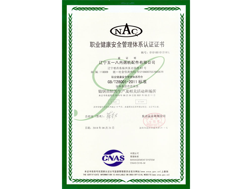 OHSMS18001 occupational health and safety management system certificate