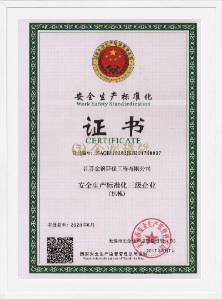 Certificate of safety production standardization
