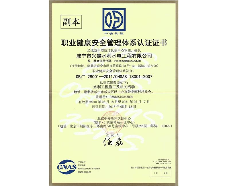 職業健康安全管理體系認證證書副本