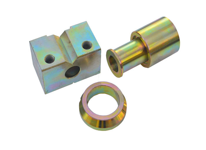 Machining parts with yellow zinc plating