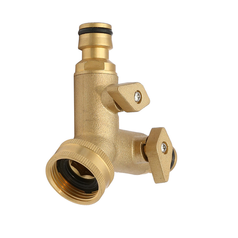 Brass 2-way Snap-In Coupling with  Shut-off Valve