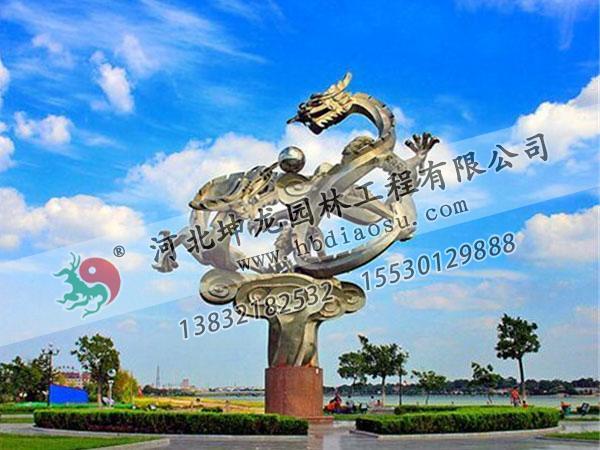 """湖北鄂州不銹鋼雕塑""""二龍戲珠"""""""