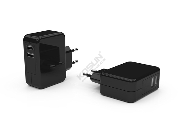 24W Dual USB Ports European Wall Charger