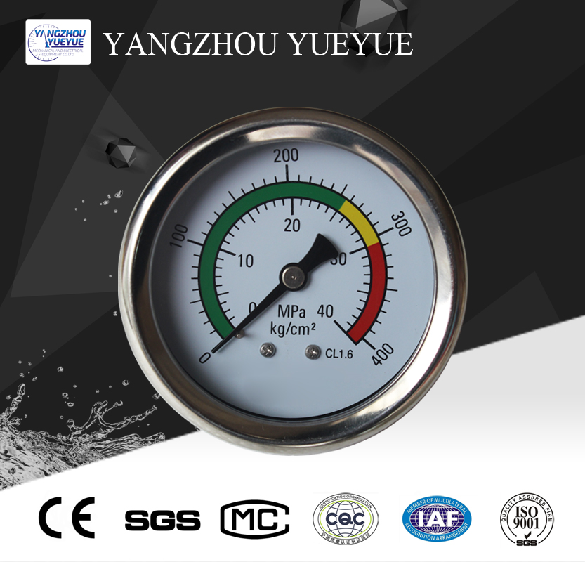 63mm liquid filled pressure gauge(center back mounting with laser welding)
