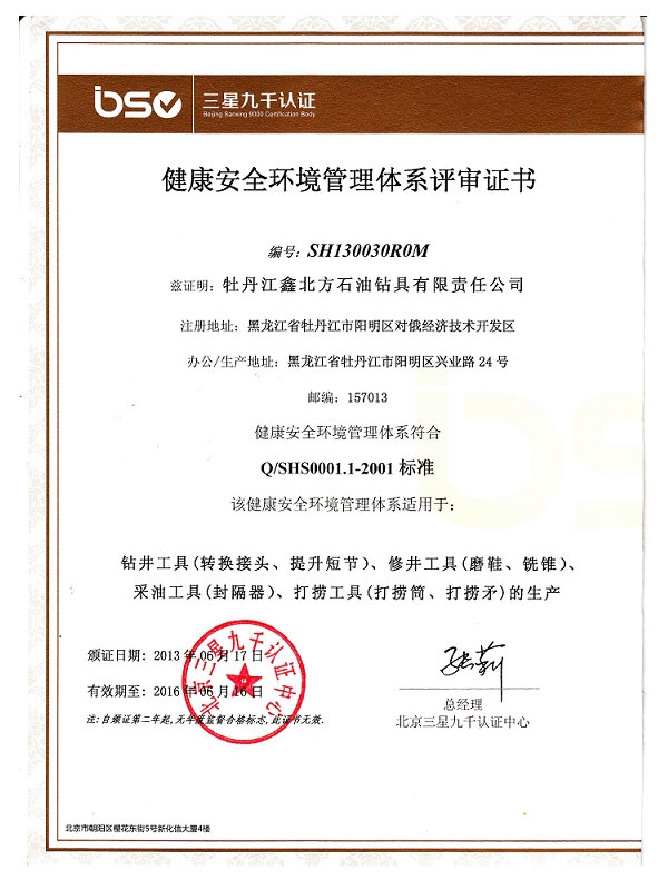 Sinopec Health and Safety Management System Certificate