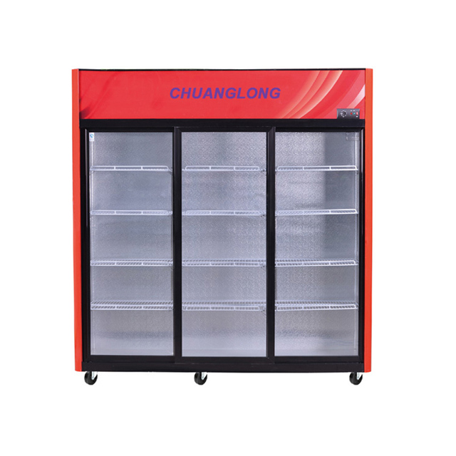 Showcase Cooler with Triple Sliding Glass Door