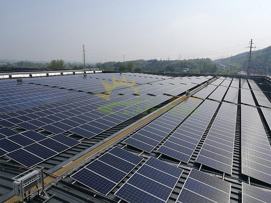 彩鋼瓦屋頂北坡撐高光伏支架 安徽 15MW