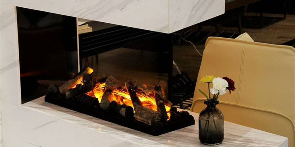 3D Water Steam Electric Fireplace With Ceramic Wood