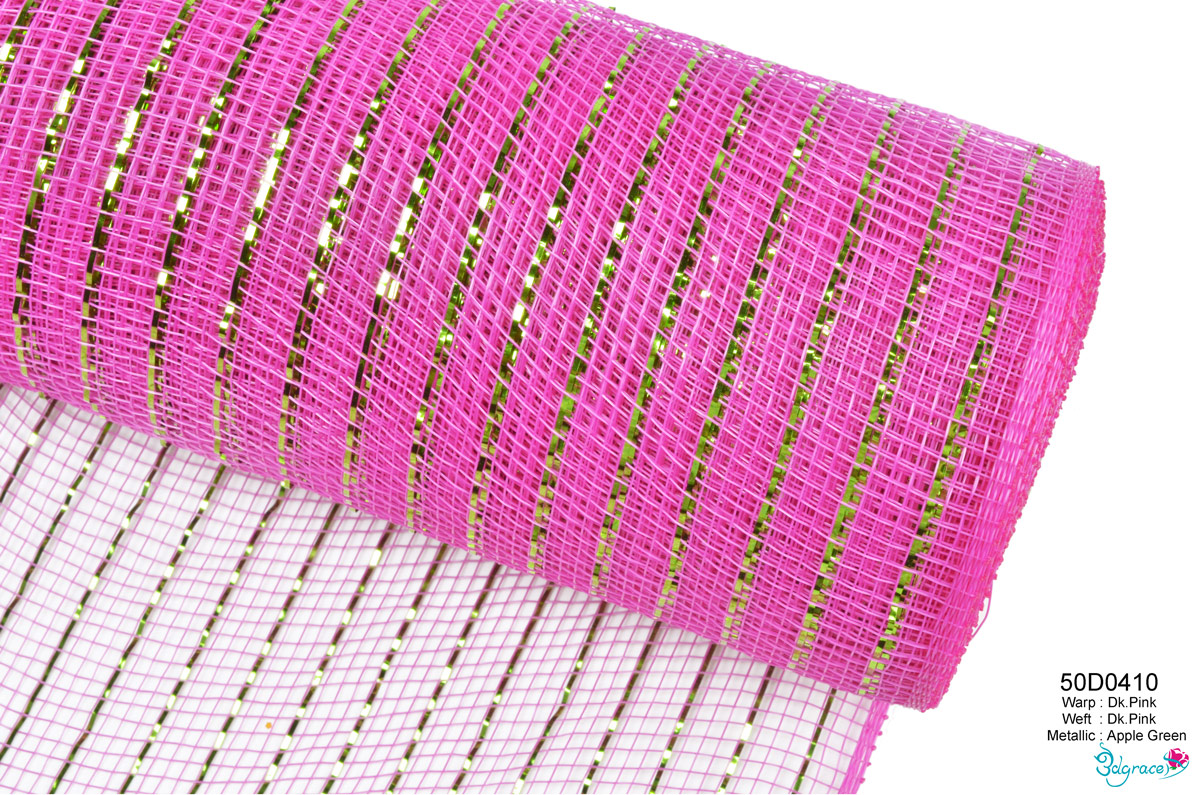 50 Regular Metallic Mesh 50D0410 Apple Green Metallic In Dk.Pink PP
