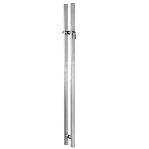 square glass door handle with lock
