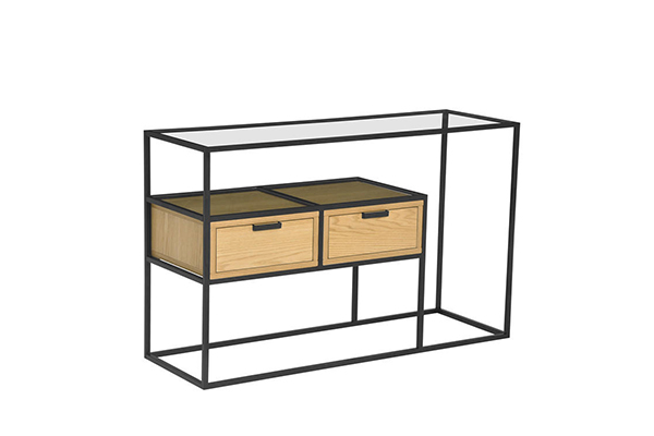 New Simple Glass top Wood drawer Metal frame Console Table