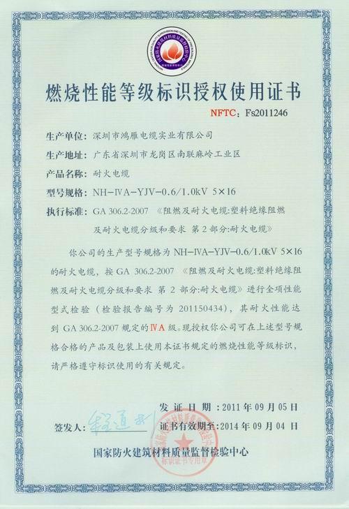 NH-YJV5X16授权证书