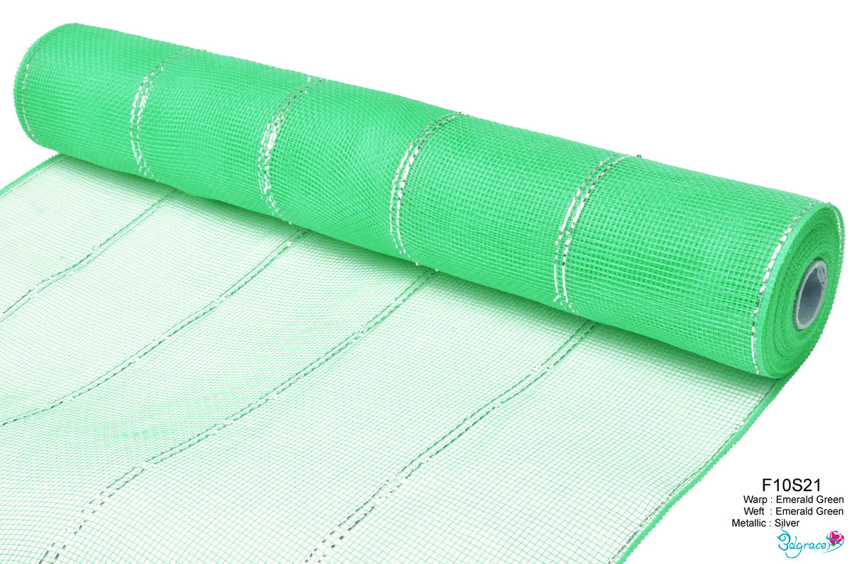 F10 Group Metallic Mesh F10S21 Silver Metallic In Emerald Green PP