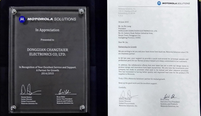 "Won the ""excellent supplier award"" by Motorola."