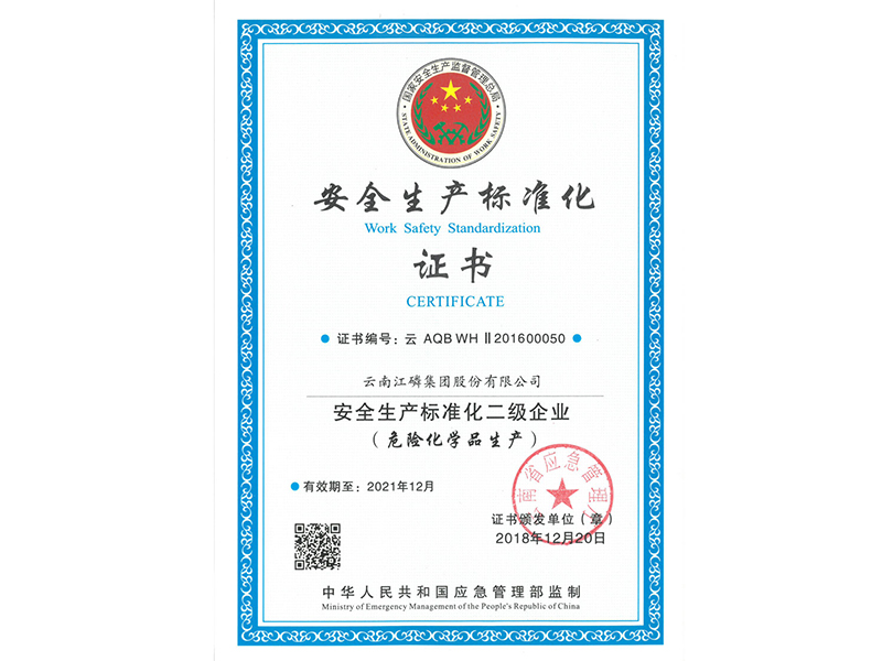 Certificate II of Safety Production Standardization Enterprise