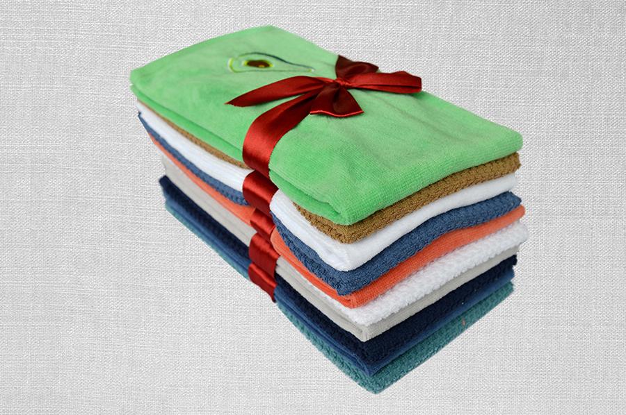 素色割絨巾+提花巾