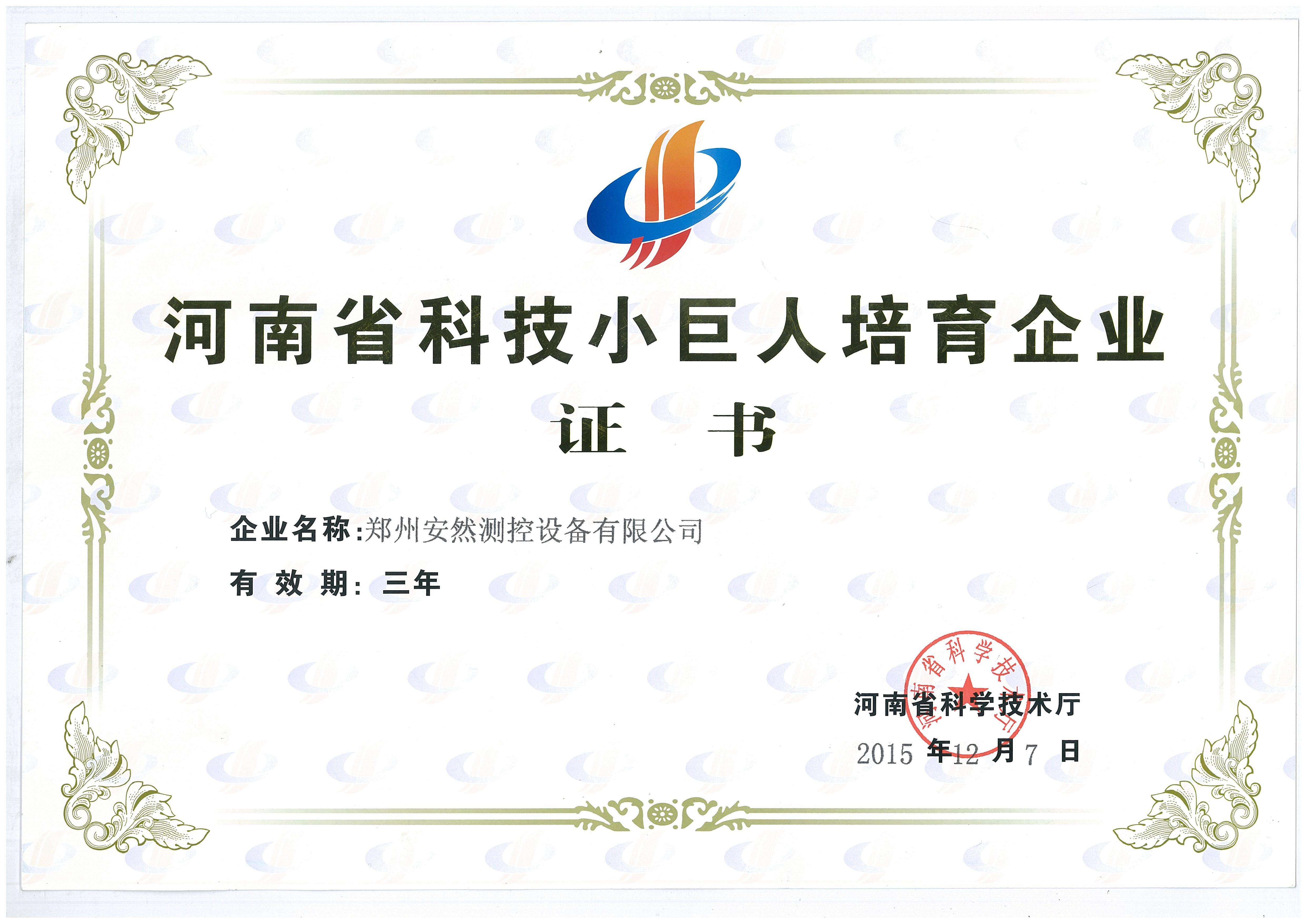 河南省科技小巨人證書