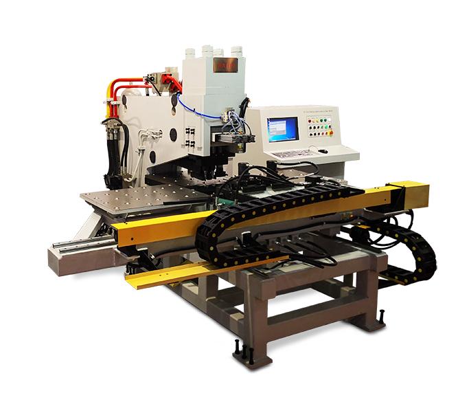 山东钢结构板材冲孔机选济南光先BNC120型数控连接板冲孔机