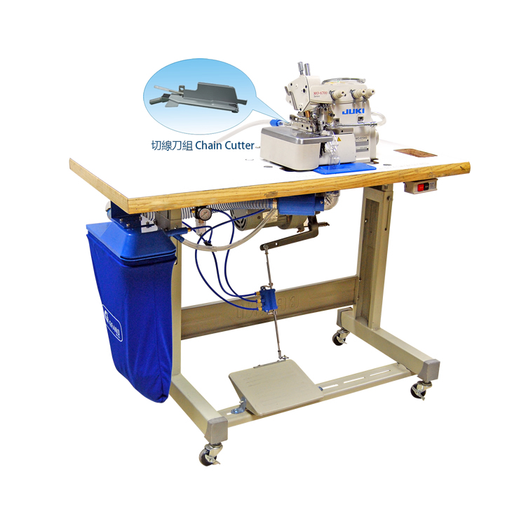 3 Ways Pneumatic Suction Chain Cutter Device With JUK over-lock Machine