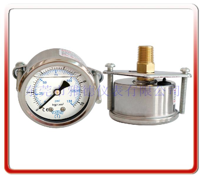 50MM軸向帶支架耐震油壓表