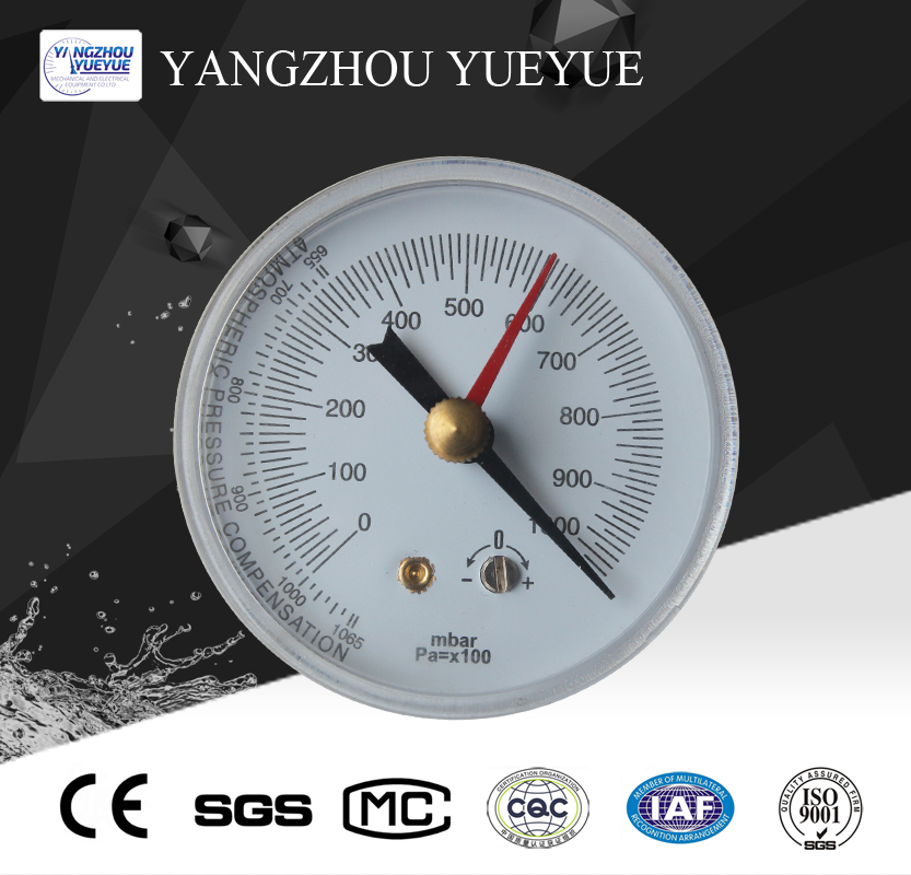 60mm vacuum pressure gauge(center back mounting with zero adjusting function)
