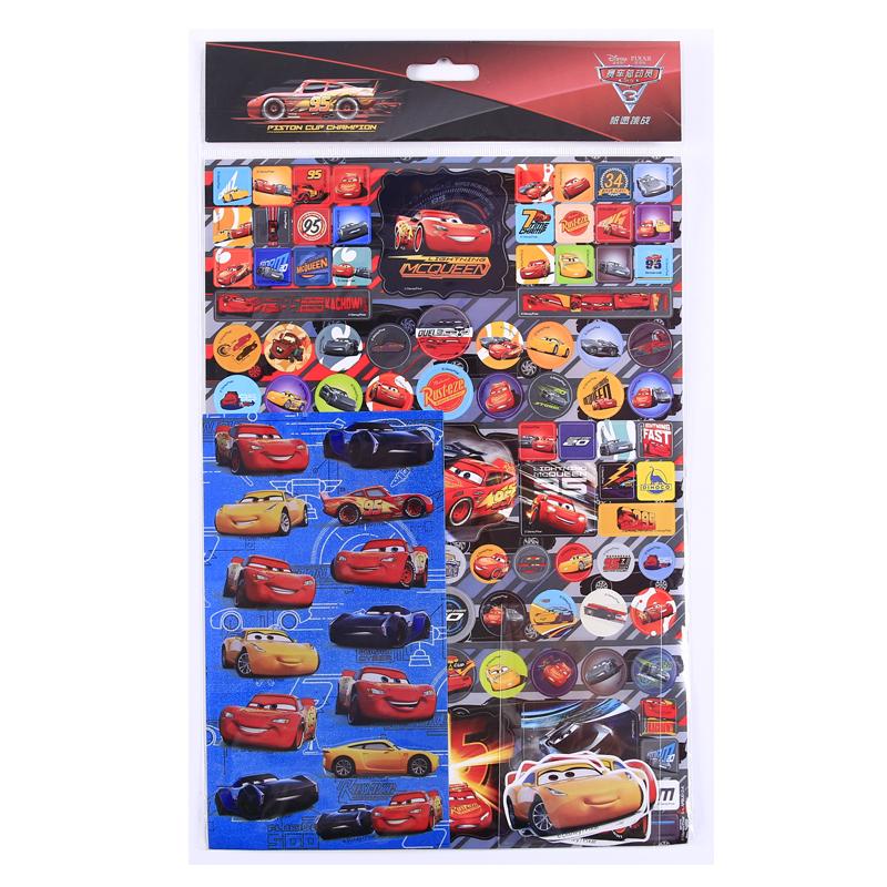 迪士尼赛车总动员平面pvc三张合一不干胶贴纸