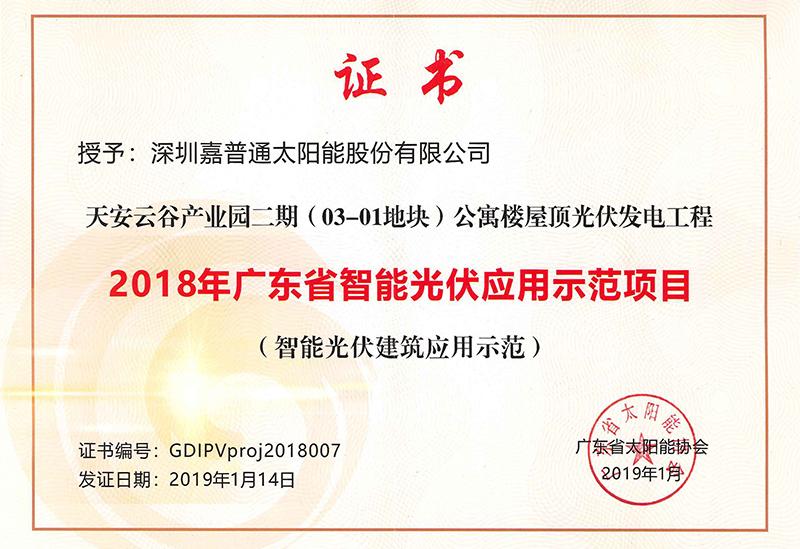 5.1 2019.1广东省太阳能协会-2018年广东省智能光伏应用示范项目(天安云谷)