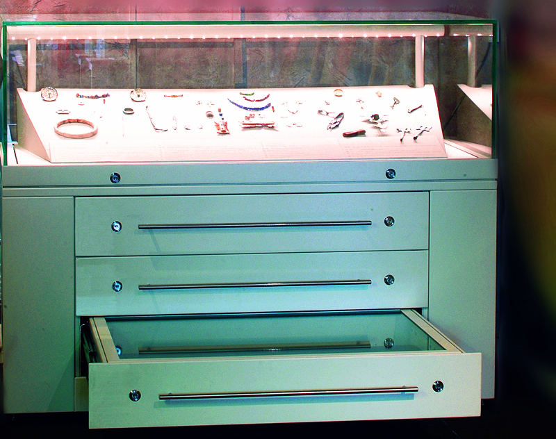 TABLE DISPLAY CASES WITH DRAWERS UNIT
