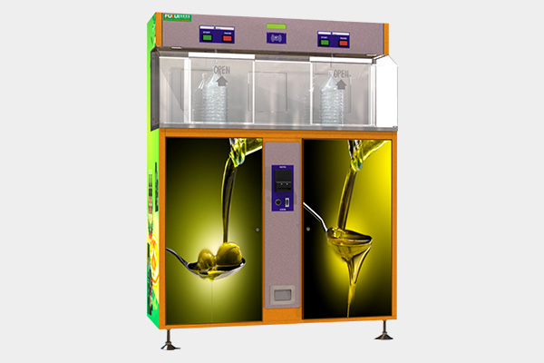 Double outlets olive oil vending machine